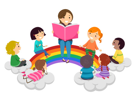 Illustration of Stickman Kids and Teacher Reading a Book and Sitting on a Rainbow 스톡 콘텐츠