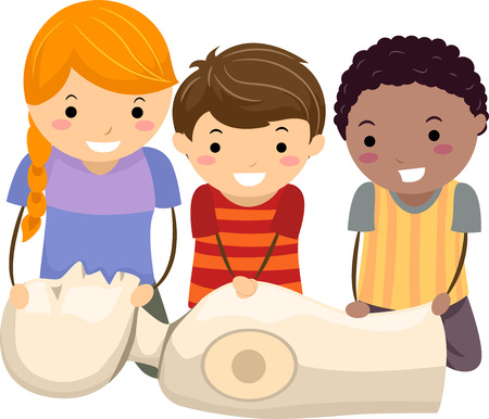 Illustration of Stickman Kids Learning and Performing Cardiopulmonary Resuscitation