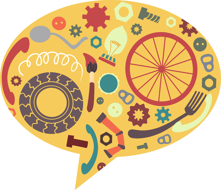 Illustration of Junk Art Inside a Speech Bubble. Recycling. Junkyard Stock Photo