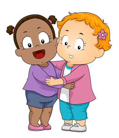 Illustration of Kids Girl Toddler Hugging Each Other. Friends