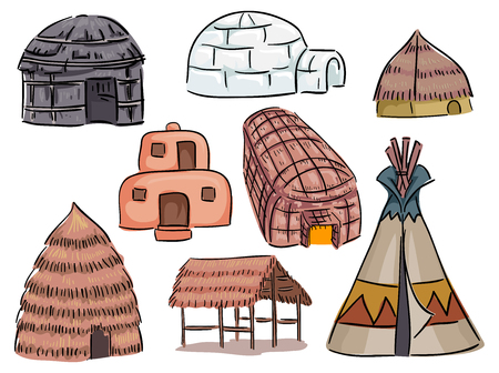 Illustration of Different Native American Houses from Teepee to Igloo to Hut