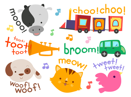 Illustration of Different Sounds from Animals to Vehicles for Kids like Cow, Train and Horn