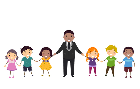 Illustration of Stickman Kids Holding Hands with Martin Luther King