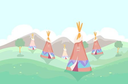Illustration of Different Teepee Set Up Outdoors with the Trees and the Mountains
