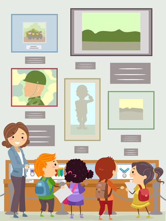 Illustration of Stickman Kids with Teacher Looking at Memorial Displays at a Museum Stock Photo