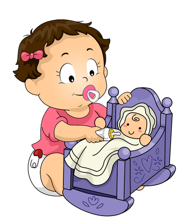 Illustration of Kid Girl Toddler Sucking on Pacifier and Giving Milk to Her Baby Doll in Cradle Foto de archivo