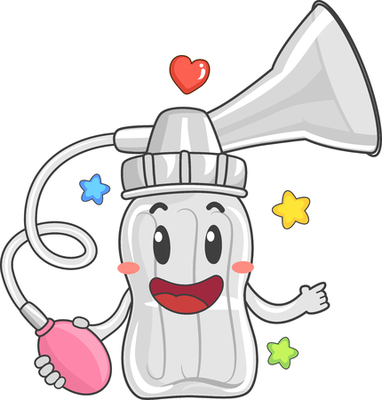 Illustration of a Manual Breast Pump Mascot with Suction and Pump