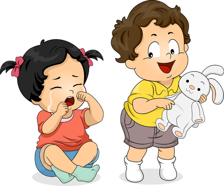 Illustration of a Kid Boy Not Sharing His Bunny Toy to a Crying Kid Girl