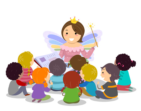 Illustration of a Teacher as Fairy Godmother Reading a Book and Telling a Story to Kids