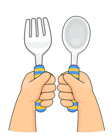 Illustration of Kid Toddler Hands Holding Spoon and Fork
