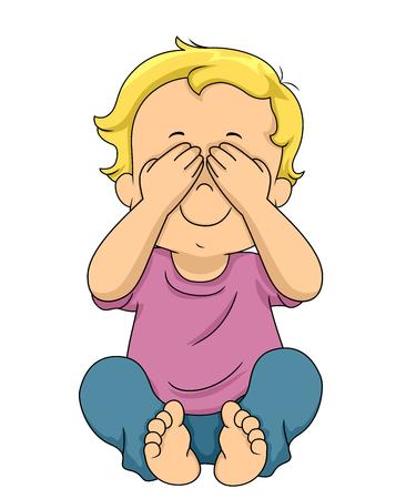 Ilustración de un niño pequeño que cubre sus ojos jugando al escondite o al escondite Foto de archivo