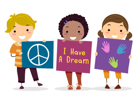 Illustration of Stickman Kids Holding Banners with Peace Sign, Hand Prints and I Have a Dream Print