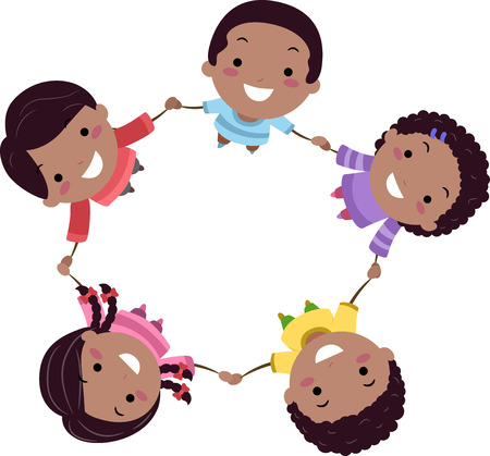 Illustration of Black Stickman Kids Holding Hands In Circle as a Group