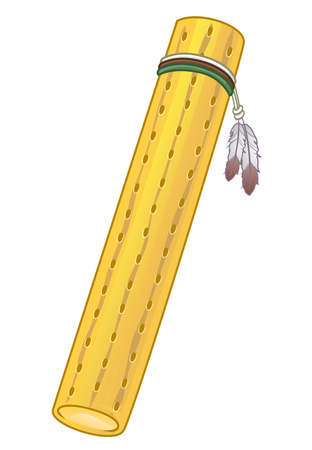 Illustration of a Rain Stick with Holes and Feathers