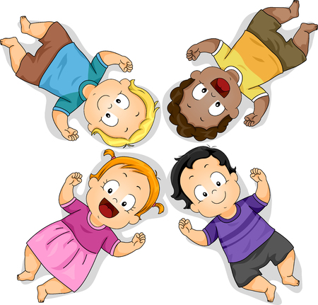 Illustration of Kids Toddlers Lying Down on the Floor Stock Photo