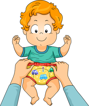 Illustration of Hands Putting on Potty Training Pants on a Kid Boy Toddler