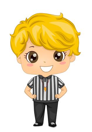 Ilustración de un árbitro Kid Boy con silbato y manos en la cintura