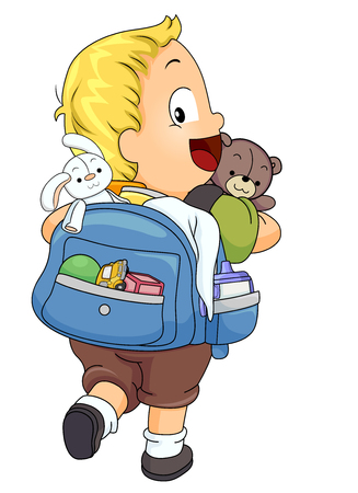 Illustration of a Kid Boy Toddler Carrying His Backpack Full of His Toys and Drink
