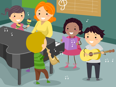 Illustration of Stickman Kids with Teachers Playing Musical Instruments in the Music Room Imagens