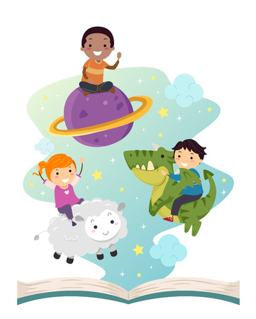 Illustration of Stickman Kids Riding a Planet, a Sheet and a Dragon Floating from an Open Story Book Stock Photo
