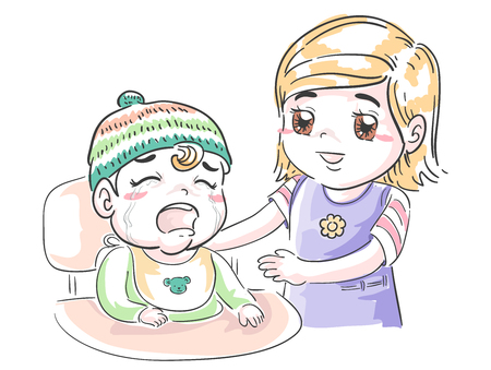 Illustration of Older Sister Pacifying Crying Younger Sibling Standard-Bild - 120524681