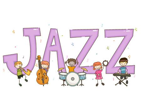 Illustration of Stickman Kids Playing Jazz Using Saxophone, Cello, Drums, Tambourine and Keyboard