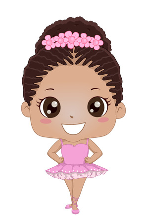 Illustration of an African American Kid Girl Wearing Leotard, Tutu, Ballet Shoes and Floral Bun