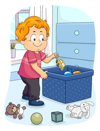 Illustration d'un enfant garçon enfant ramasser son jouet pour le ranger dans le conteneur. Organiser les tâches ménagères