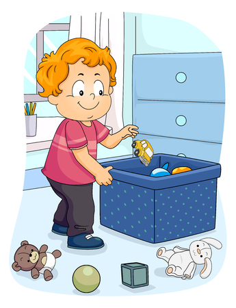 Illustration of a Kid Boy Toddler Picking Up His Toy to Store in the Container. Organizing Household Chores 写真素材