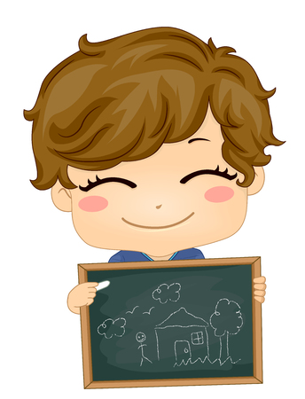 Illustration of a Kid Boy Holding a Chalk Board While Telling Story