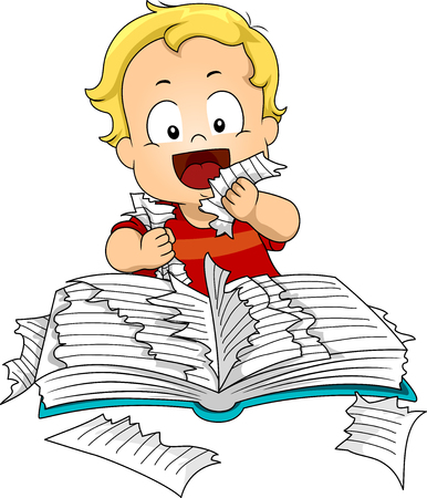 Illustration of a Kid Boy Toddler Ripping Pages of a Book to Taste and Eat