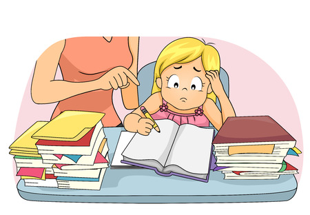 Illustration of a Kid Girl Having Trouble Answering Assignment and Her Mom Helping Her Study