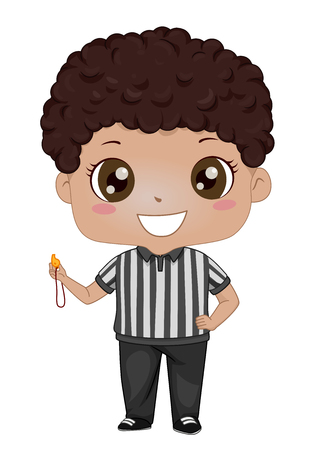 Illustration of an African American Kid Boy Referee Holding a Whistle Stock Photo