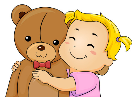 Illustration of a Kid Girl Toddler Happily Smiling and Hugging a Big Teddy Bear Stuffed Toy Stok Fotoğraf