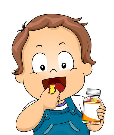 Illustration of a Kid Boy Toddler Holding a Bottle of Vitamins and About to Chew One 스톡 콘텐츠 - 120524907