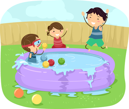 Illustration of Stickman Kids Playing in Inflatable Pool at the Backyard 스톡 콘텐츠 - 120524909
