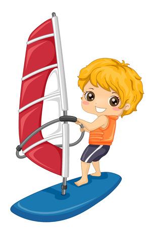 Illustration of a Kid Boy on Board Wind Surfing 스톡 콘텐츠 - 120524911