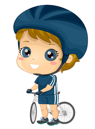 Illustration of a Kid Boy Cyclist Wearing Cycling Outfit with Helmet and Gloves Holding on Bicycle 스톡 콘텐츠 - 120524913