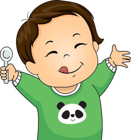 Illustration of a Kid Boy Toddler Holding a Spoon with Tongue Out, Yummy Expression 스톡 콘텐츠 - 120524915
