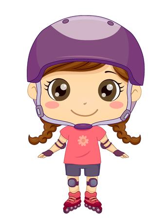 Illustration of a Kid Girl Wearing Helmet, Shoulder and Knee Pads, and Roller Blades for Rollerblading