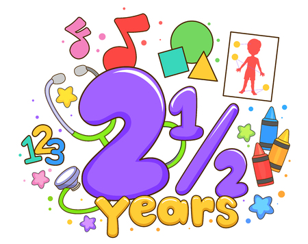 Illustration of Common Children Activities from Counting 123, Identifying Shapes to Coloring at Two and a Half Year Old Stok Fotoğraf