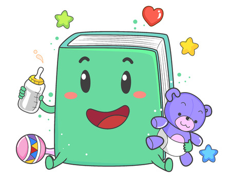 Illustration of a Book Mascot Holding a Teddy Bear Stuffed Toy and Milk Bottle 스톡 콘텐츠 - 120524927