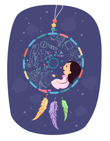 Illustration of a Stickman Kid Girl Sitting Inside the Hoop of a Dream Catcher 스톡 콘텐츠 - 120524930