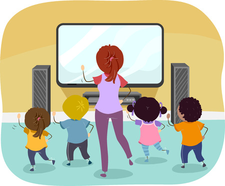Illustration of Stickman Kids and Teacher Following Exercise Games on Television 스톡 콘텐츠 - 120524933
