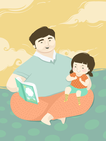 Illustration of a Kid Girl with Her Father Reading Her a Book 스톡 콘텐츠 - 120524935