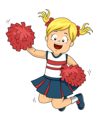 Illustration of a Kid Girl Cheerleading, Jumping and Holding Pompoms