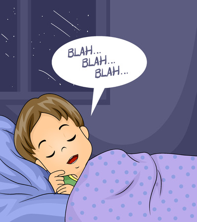 Illustration of a Kid Boy Sleeping in Bed and Talking in His Sleep