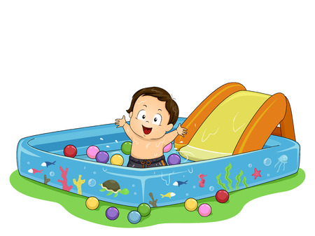 Illustration of a Kid Boy Toddler Inside Playing a Kiddie Pool with Balls 스톡 콘텐츠 - 120908037