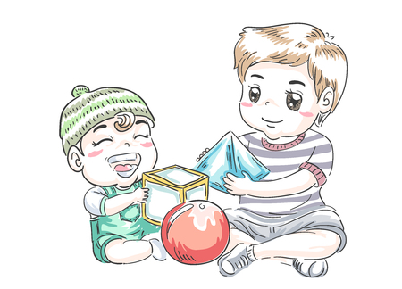 Illustration of Kids Boy Sibling Playing with Different Shapes from Cube, Sphere and Cone 스톡 콘텐츠 - 120908038