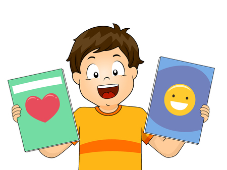 Illustration of a Kid Boy Holding Story Books with Stories About Love and Happiness 스톡 콘텐츠 - 120908039